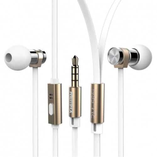 Original ακουστικά handsfree In-ear μεταλλικό από ανοξείδωτο χάλυβα υψηλής απόδοσης σε χρώμα Λευκό Remax RM 565I