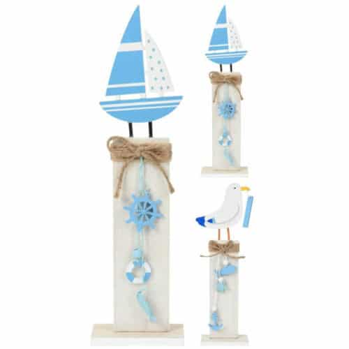 Ξύλινο διακοσμητικό σετ 2τμχ με δύο σχέδια, ένα καραβάκι και ένα περιστέρι με βάση 12,5x35cm σε λευκό και μπλε χρώμα jk collection