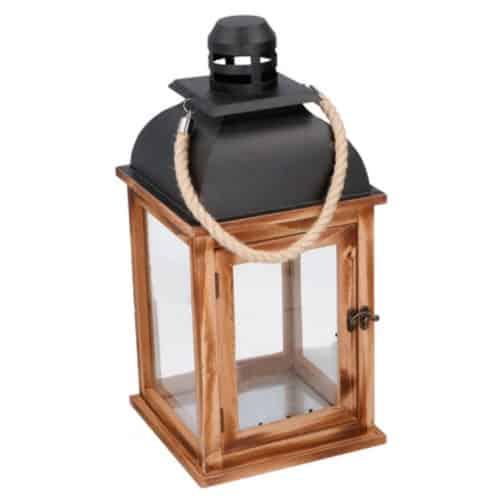 Ξύλινο Διακοσμητικό Φαναράκι 21.5x21.5x46m Εσωτερικού και Εξωτερικού χώρου με Μαύρο μεταλλικό καπάκι και Λαβή από Σχοινί σε Καφέ χρώμα 06430 Arti Casa