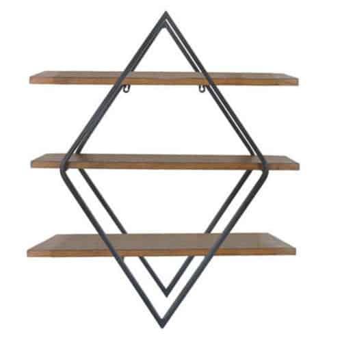 Διακοσμητικά ραφάκια επιτοίχια ξύλινα με μέταλλο διάστασης 66x20x77cm σε καφέ και μαύρο χρώμα jk collection
