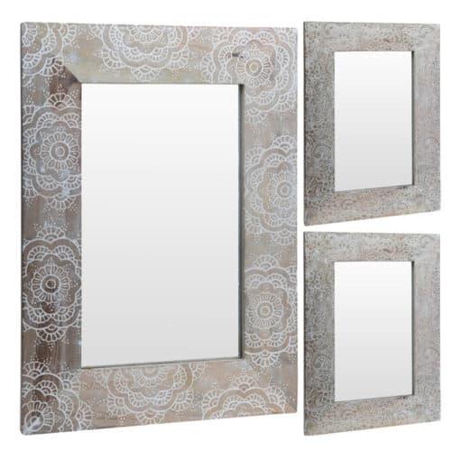 Διακοσμητικός Καθρέφτης τετράγωνος από Φυσικό ξύλο με Σκαλιστή Λεπτομέρεια στο Πλαίσιο, 50x70 εκατοστά, A44310170 OEM