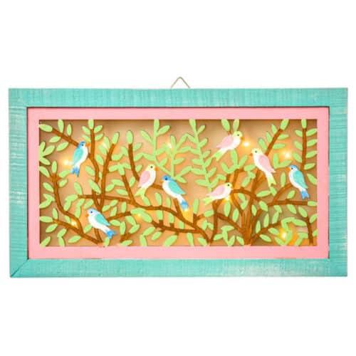 Διακοσμητικός ξύλινος πίνακας φωτιζόμενος σε παλ χρώματα ροζ, πράσινο και καφέ διάστασης 32x19cm jk collection