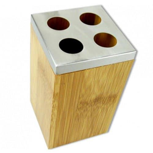Δοχείο για Οδοντόβουρτσες από Μπαμπού και Ανοξείδωτο ατσάλι 6.5x6.5x11cm με ειδικές ατομικές θέσεις Bamboo