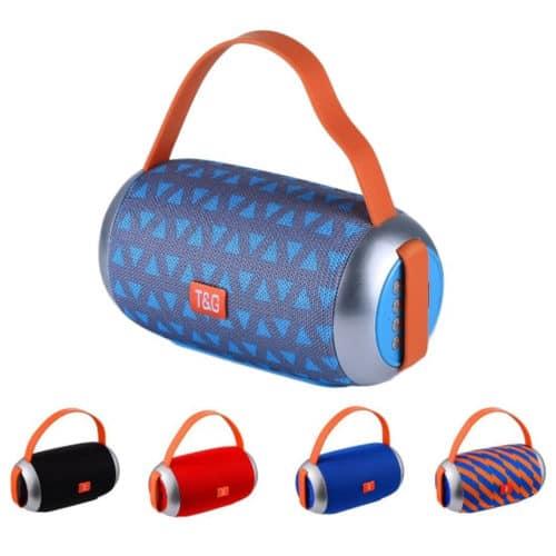 Φορητό επαναφορτιζόμενο ηχείο Bluetooth εμβέλειας 10 μέτρων σε δύο χρώματα, μαύρο και μπλε με πορτοκαλί TG112