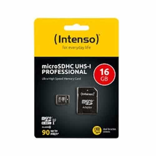 Κάρτα μνήμης Memory Card microSD 16GB class 10 υψηλής ταχύτητας με αντάπτορα INTENSO PROFESSIONAL