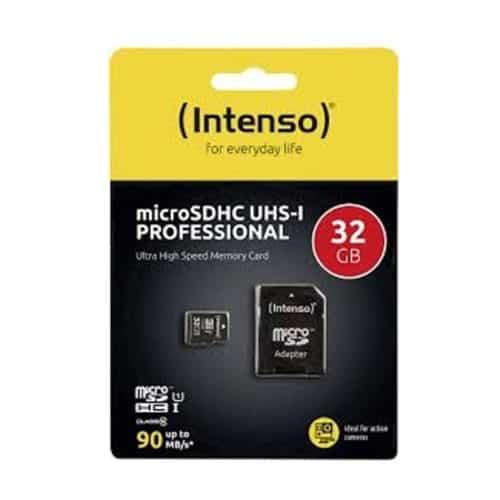 Κάρτα μνήμης Memory Card microSD 32GB class 10 υψηλής ταχύτητας με αντάπτορα INTENSO PROFESSIONAL