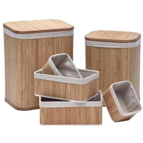 Σετ 6 Τεμαχίων Καλάθι Απλύτων, με 4 διαφορετικές διαστάσεις, στο χρώμα του ξύλου Bamboo