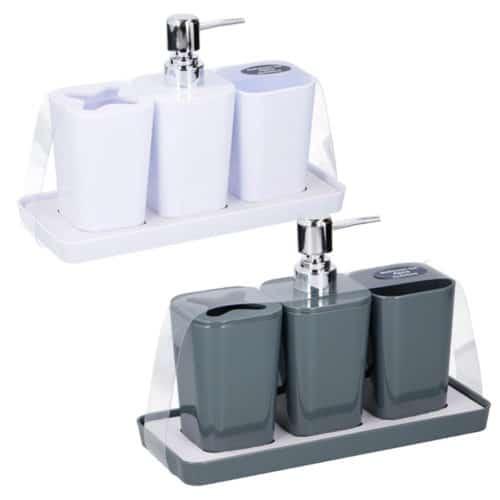Σετ Αξεσουάρ Μπάνιου 4 τεμαχίων με Dispenser Σαπουνιού Κρεμοσάπουνο και 2 Δοχεία για Οδοντόβουρτσες, Bathroom Set Bath & Shower 05998