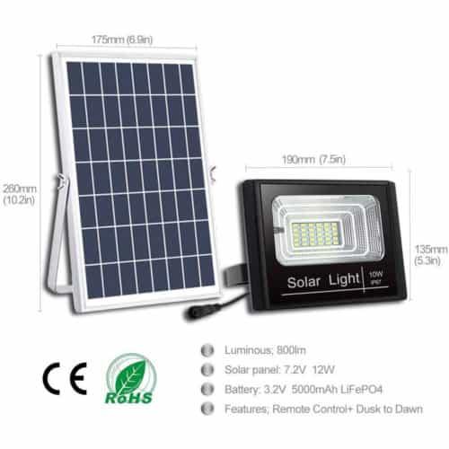 Ηλιακός Προβολέας LED 10W Αδιάβροχος με Χρονοδιακόπτη, Τηλεχειριστήριο και αισθητήρα φωτός ΟΕΜ