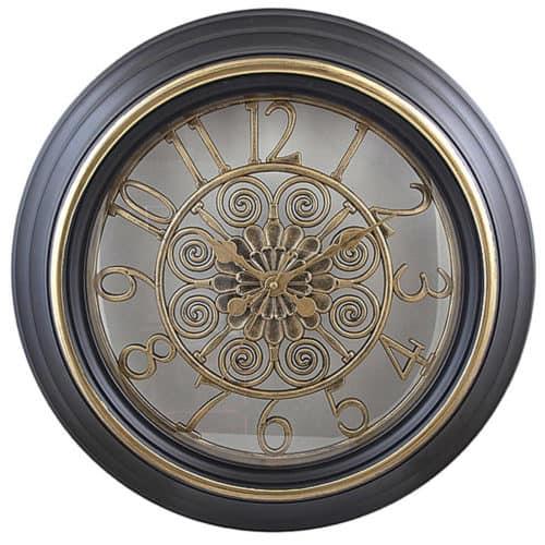 Ρολόι Τοίχου Μεταλλικό με Ξύλινο Πλαίσιο, Διαμέτρου 50 εκατοστά, σε Vintage Σχέδιο, Art951-1 OEM