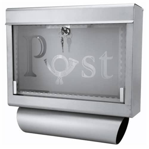 Γραμματοκιβώτιο 40x11x39cm από Ανοξείδωτο ατσάλι και Γυαλί με Ανοιγόμενο Τζάμι και θέση για Εφημερίδα Grafner