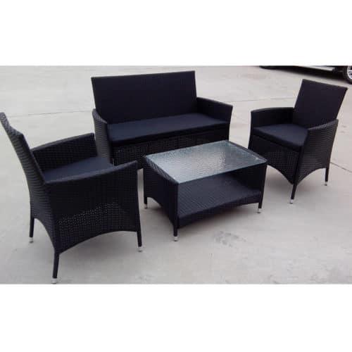 Σετ έπιπλα κήπου & βεράντας 4 τεμαχίων από Rattan με 1 καναπέ, 2 πολυθρόνες και 1 τραπέζι Lifetime Garden Brasil 01120