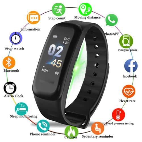Αδιάβροχο IP67 ρολόι Smartband σε μαύρο χρώμα με οθόνη αφής OLED με πολλές λειτουργίες C1 WearFit