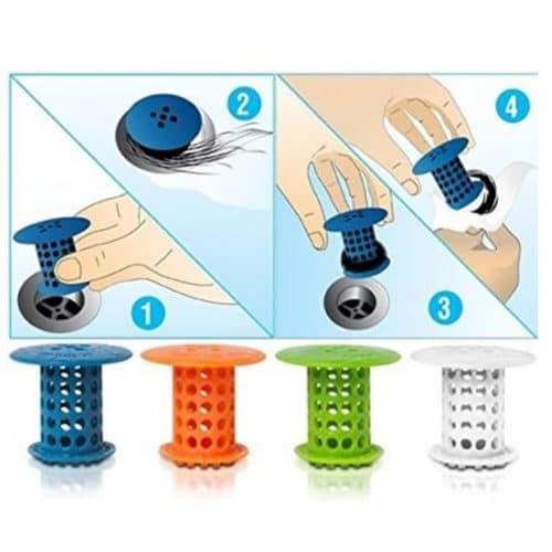 Σετ 2τμχ Πλαστικά Δαχτυλίδια Καθαρισμού για τις Τρίχες σε Νεροχύτη και Σωλήνες Hair Catcher ΟΕΜ