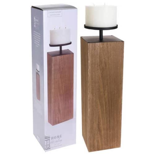 Διακοσμητικό ξύλινο κηροπήγιο με κερί διάστασης 17x17x56cm σε καφέ χρώμα jk collection