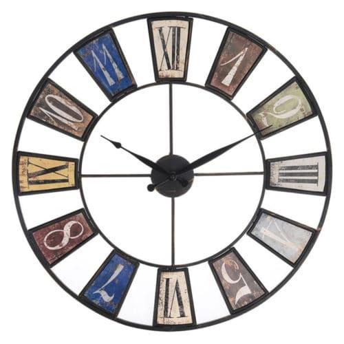 Αναλογικό Μεταλλικό Ρολόι Τοίχου διαμέτρου 60cm σε στυλ αντίκας Aria Trade