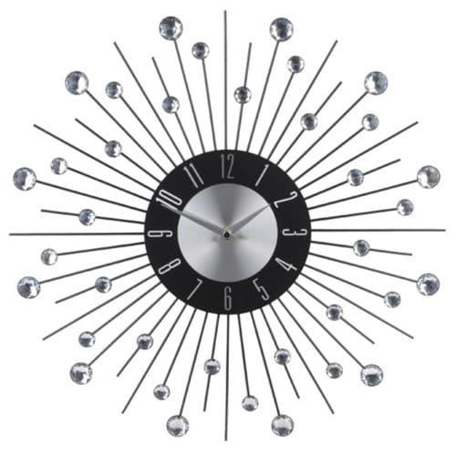 Αναλογικό Ρολόι Τοίχου με πέτρες, κρύσταλλα και διάμετρο 43cm σε ασημί χρώμα Aria Trade