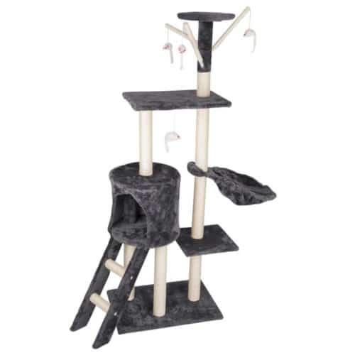 Βελούδινο Δέντρο για Γάτες Ονυχοδρόμιο Γατόδεντρο με σκάλα σε γκρι χρώμα, 140x50x35cm Pet Comfort