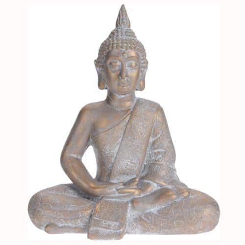 Βούδας διακοσμητικό αγαλματίδιο σε καθιστή θέση, διαστάσεων 41x23x49cm σε μπεζ χρώμα Aria Trade