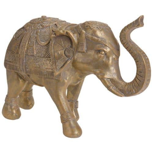 Διακοσμητικός κεραμικός ελέφαντας διάστασης 36x13x21cm σε χρυσό χρώμα jk collection