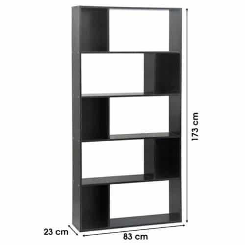 Έπιπλο Ξύλινη Βιβλιοθήκη με 5 Ράφια σε μαύρο χρώμα διάστασης 83x23x173cm Aria Trade