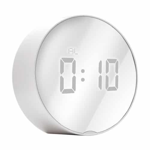 Επιτραπέζιο Ψηφιακό Ρολόι Καθρέφτης με Ξυπνητήρι Στρογγυλό