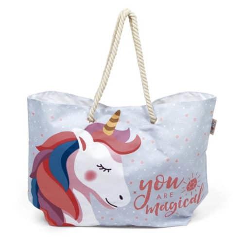 Τσάντα Παραλίας Θαλάσσης Ώμου με θέμα Unicorn, 56x18x38 cm