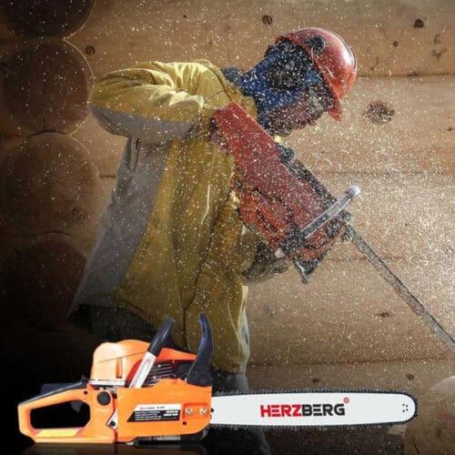 Αλυσοπρίονο με εργονομικές λαβές και σύστημα προστασίας από κραδασμούς, 50x26x27cm, Thermal Chainsaw Herzberg, HG-5800