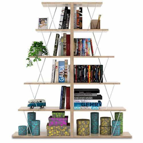 Βιβλιοθήκη mini Tars χρώμα sonoma με λεπτομέρειες σε λευκό διάστασης 130x22x146εκ