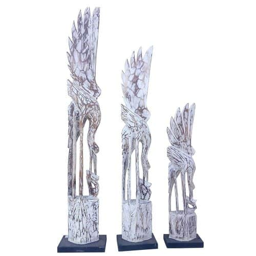 Διακοσμητικά Ξύλινα Πουλιά σετ 3τμχ Ύψους 60-80-100cm σε χρώμα Λευκό Αντικέ AB-AB002