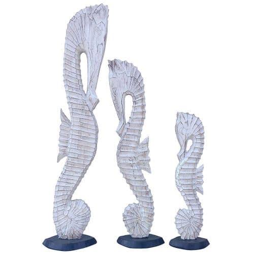 Διακοσμητικοί Ξύλινοι Ιππόκαμποι σετ 3τμχ Ύψους 60-80-100cm σε χρώμα Λευκό Αντικέ AB-AB004