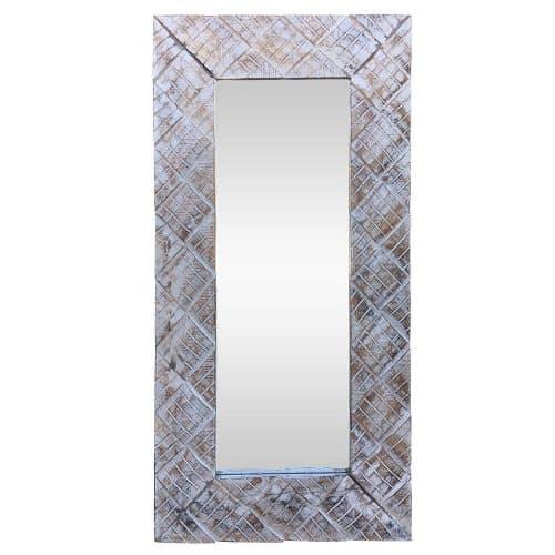 Διακοσμητικός Χειροποίητος Ξύλινος Καθρέπτης διαστασης 40x60cm σε χρώμα Λευκό Αντικέ AB-AB048