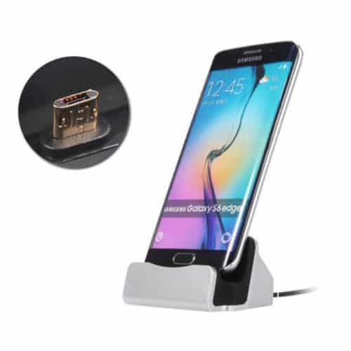 Επιτραπέζιος Φορτιστής Micro USB Χρώματος Ασημί Hoppline HOP1000732-2 Hoppline