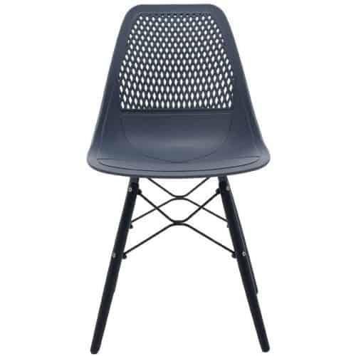 Καρέκλα Ninja από PP σε χρώμα σκούρο μπλε με ξύλινα πόδια εσωτερικού & εξωτερικού χώρου 46x52x83cm