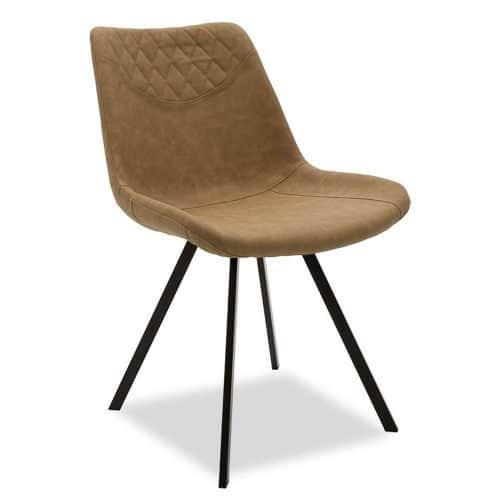 Καρέκλα Orca μεταλλική μαύρη με pu μπεζ-καφέ διάστασης 50x60x78cm