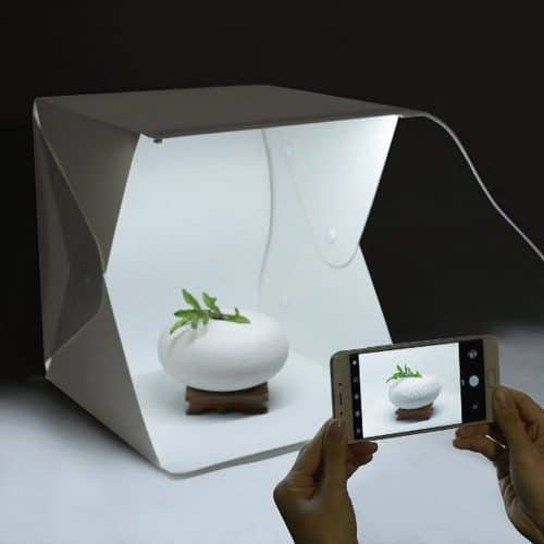 Μίνι φορητό αναδιπλούμενο φωτογραφικό στούντιο με φως LED και διπλό φόντο 20 x 20 x 20cm