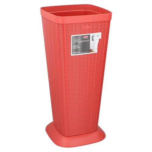 Πλαστική Βάση Ομπρέλας - Ομπρελοθήκη σε κόκκινο χρώμα, διαστάσεις 25.5x25.5x57 εκατοστά