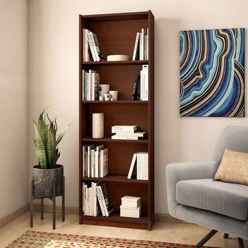 Ξυλινη Βιβλιοθήκη Max σε καρυδί spanish χρώμα διάστασης 58x23x170εκ