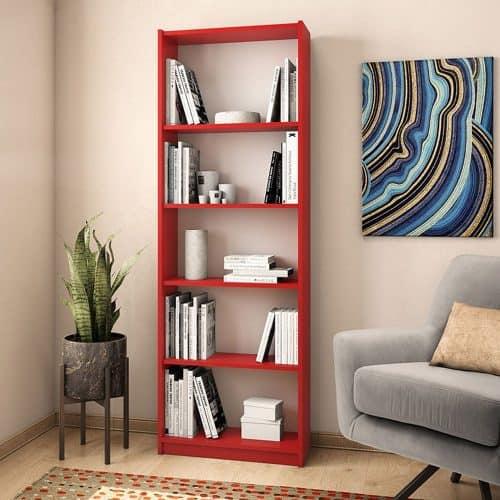 Ξυλινη Βιβλιοθήκη Max σε κόκκινο χρώμα διάστασης 58x23x170εκ