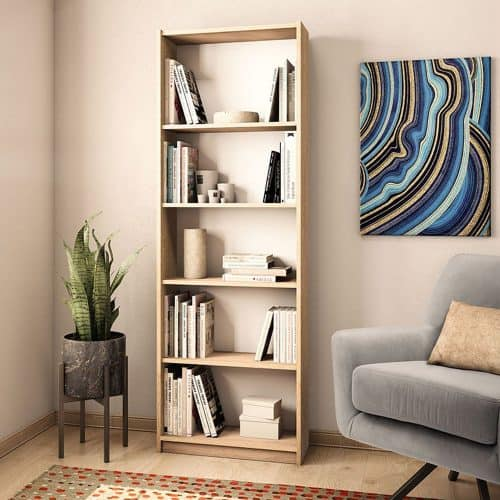 Ξύλινη Βιβλιοθήκη Max σε sonoma χρώμα διάστασης 58x23x170εκ