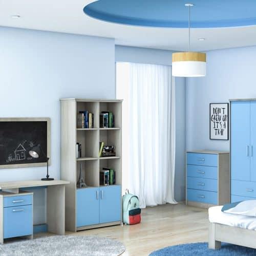 Ξύλινη βιβλιοθήκη παιδική σύνθετη Looney σε χρώμα castillo μπλε διάστασης 80,5x36,5x183,5εκ